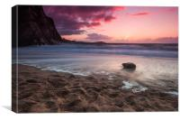Lusty Glaze Cove Susnet, Canvas Print