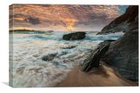 Lusty Glaze Cove at Sunset, Canvas Print