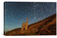 Star Trails Over Wheal Coates, Canvas Print
