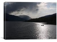 boat in sun loch leven, Canvas Print