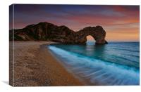 Durdle Door Sunset Wave, Canvas Print
