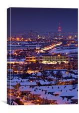 Portsmouth Snowy Skyline at dusk, Canvas Print