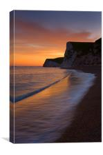 Durdle Door dusk wave 2, Canvas Print