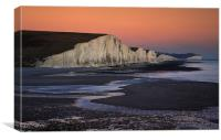 Seven Sisters at sunset, Sussex, England, Canvas Print