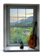 Bonsai and Spanish Guitar Window, Canvas Print