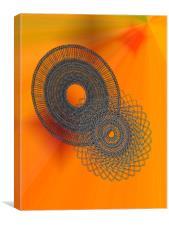 Spirals on Orange Ray Background, Canvas Print