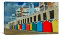 BEACH HUTS BOSCOMBE, Canvas Print