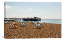 Deckchairs and Brighton Pier, Canvas Print