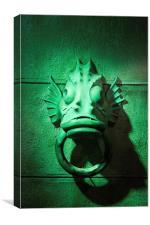 Green Fish Sculpture Mooring Ring, Canvas Print