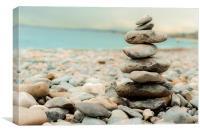 Pebble Tower on the beach, Canvas Print