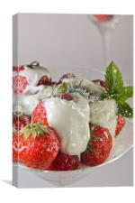 Strawberries and cream, Canvas Print