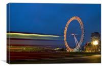 London Eye light trails, Canvas Print