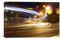 Edinburgh princes street light trails, Canvas Print