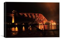 Forth rail bridge at night, Canvas Print