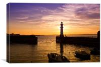 Newhaven harbour Edinburgh lighthouse, Canvas Print