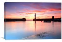 Newhaven harbour sunset Edinburgh, Canvas Print