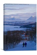 Couple walking in Lapland, Canvas Print