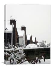 Rooftops in the snow, Canvas Print