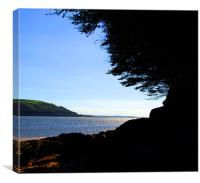 Llansteffan Beach Silhoutte, Canvas Print