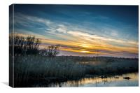 Sunset over Oulton Marshes, Canvas Print