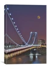 Moon Rise over the George Washington Bridge, Canvas Print