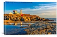 Nubble Lighthouse Reflections, Canvas Print