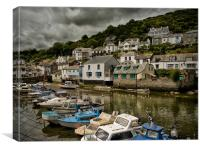 Moody Sky at Polperro Harbour, Canvas Print