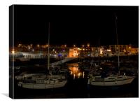 Paignton Harbour at Night, Canvas Print