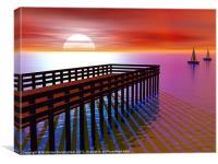 Pier at sunset, Canvas Print