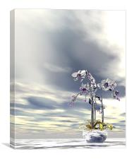 Silver and gold orchids, Canvas Print