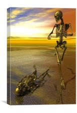Surreal skeleton jogging past prone skeleton with , Canvas Print