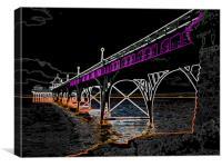 Clevedon Pier Neon, Canvas Print