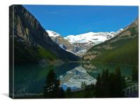 Crisp reflection at Lake Louise, Canvas Print