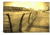 Strolling along Portishead Marina, Canvas Print