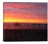 Colourful,Clevedon pier sunset, Canvas Print