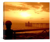 Sunset over Clevedon Pier, Canvas Print