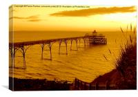 Evening view of Clevedon pier, Canvas Print