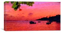 Red sunset in St Lawrence Gap Barbados, Canvas Print
