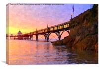 spring sunset over Clevedon Pier, Canvas Print