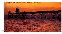 A June sunset at Clevedon Pier, Canvas Print