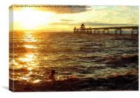 Sunset swim off Clevedon Pier,Somerset, Canvas Print