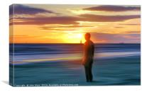 A Gormley Iron man at sunset, Canvas Print