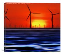 Wind Farms in the Sunset (Digital Art), Canvas Print