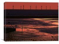 River Alt and the wind farm, Canvas Print