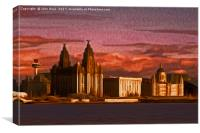 Liverpool Waterfront at Sunset (Digital Art), Canvas Print