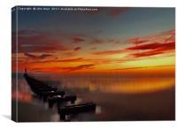 The Beach at Sunset (Digital Art) , Canvas Print