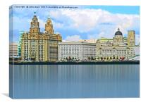 Liverpool Waterfront Skyline (Digital Art), Canvas Print
