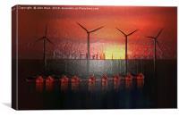 Boats at Sunset (Digital Art), Canvas Print