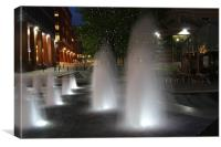 Night Fountains Birmingham, Canvas Print