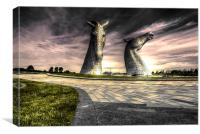 Kelpies the road in, Canvas Print